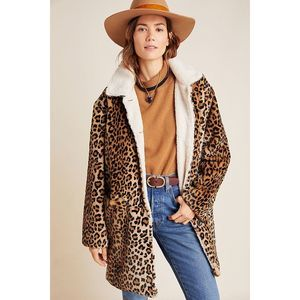 New Anthropologie Sanctuary Sherpa Leopard Coat